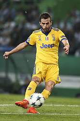 October 31, 2017 - Lisbon, Portugal - Juventus's midfielder Miralem Pjanic in action during the Champions League  football match between Sporting CP and Juventus FC at Jose Alvalade  Stadium in Lisbon on October 31, 2017. (Credit Image: © Carlos Costa/NurPhoto via ZUMA Press)