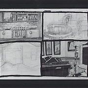 """Title: Interior Studies<br /> Artist: Mary-Catherine Stewart<br /> Date: 2015<br /> Medium: Gel pen & pencil<br /> Dimensions: 12.5 x 10""""<br /> Instructor: Pehr Smith<br /> Awards: 1st Place, Drawing, 39th Annual Student Exhibition<br /> Status: On Display<br /> Location: Art & Digital Media Office Suite<br /> Highland Campus HLC4 Bldg 4000, Room 2110"""