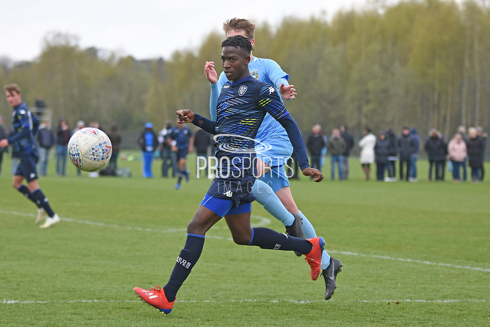Leeds United forward Henri Kumwenda holds ball up during the U18 Professional Development League match between Coventry City and Leeds United at Alan Higgins Centre, Coventry, United Kingdom on 13 April 2019.