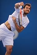 Brisbane, Australia, December 30: Tommy Haas of Germany serves during a training session at Pat Rafter Arena ahead of the 2012 Brisbane International Tennis Tournament in Brisbane, Australia on Friday December 30th, 2011. (Photo: Matt Roberts/Photo News)