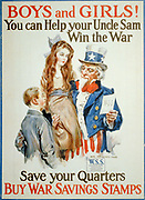 Boys and girls! You can help your Uncle Sam win the war - save your quarters, buy War Savings Stamps 1917/ James Montgomery Flagg 1877-1960.