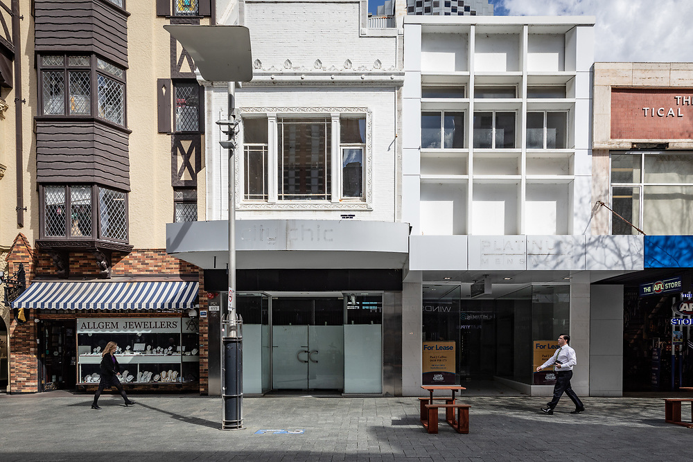 Vacant shops on Hay Street in the Perth CBD, Western Australia Thursday August 20,2020.