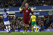 Norwich City Goalkeeper John Ruddy holds his hans up. EFL Cup, 3rd round match, Everton v Norwich city at Goodison Park in Liverpool, Merseyside on Tuesday 20th September 2016.<br /> pic by Chris Stading, Andrew Orchard sports photography.