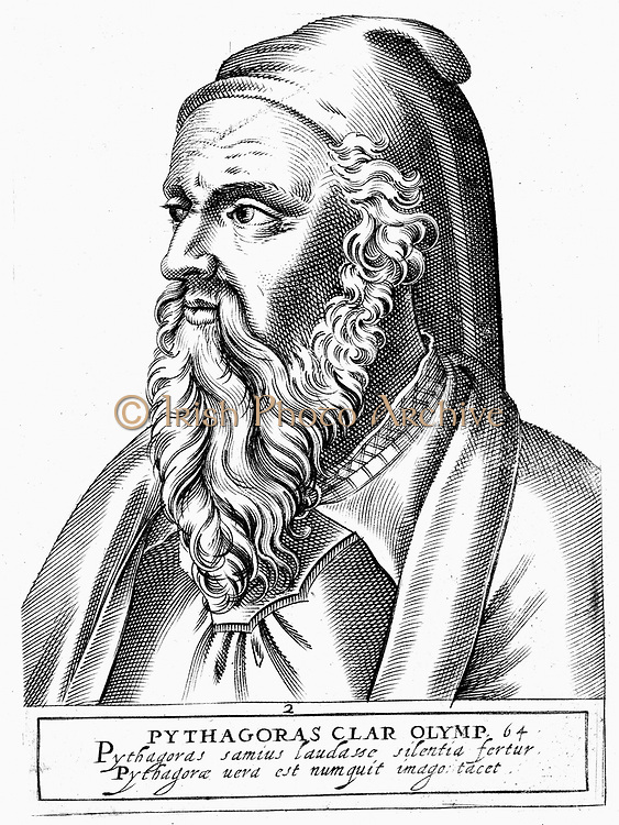 Pythagoras (c560-c480 BC) Ancient Greek philosopher and scientist. Engraving.