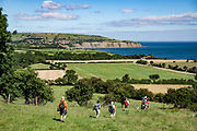 Pastures surround Robin Hood's Bay on the North Sea. Today we toured North York Moors National Park from Grosmont to Robin Hood's Bay on foot and via van, plus Whitby on the Esk River, in North Yorkshire county, England, United Kingdom, Europe. England Coast to Coast hike with Wilderness Travel, day 13 of 14. We walked a rural path through bracken, purple blooming heather moors, and farmland before descending cliffs to the beach and village of Robin Hood's Bay. We dipped our boots into the North Sea, having completed our journey via foot and car from the Irish Sea over two weeks. Lunch at Wainwrights Bar at the Bay Hotel. Visit spectacular Whitby Abbey and the seaside fishing port of Whitby. Overnight at Best Western Forest & Vale Hotel, in Pickering, North Yorkshire. [This image, commissioned by Wilderness Travel, is not available to any other agency providing group travel in the UK, but may otherwise be licensable from Tom Dempsey – please inquire at PhotoSeek.com.]