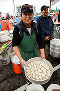 Queens, NY - October 2, 2016. Momos, Nepalese dumplings, at Dhaulagiri Kitchen at The FEastival fo Queens at The Meadows Festival at Citi Field.