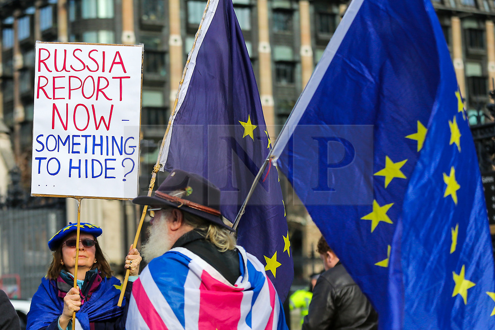 © Licensed to London News Pictures. 05/02/2020. London, UK. Pro-European Union campaigners continue protesting outside Houses of Parliament despite of UK leaving the European Union on 31 January 2020. Photo credit: Dinendra Haria/LNP