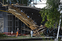 July 13, 2017 - Ludvika, Sweden - Twelve people were injured, six of them seriously, when a scaffholdidng at a bridge construction over the railway in Ludvika, Sweden, collapsed (Credit Image: © WixtrÖM Jimmy/Aftonbladet/IBL via ZUMA Wire)