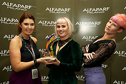 Lloyds - Waterford<br />3rd Place Junior <br /><br />Joan Jordan - ALFAPARF MILANO Ireland, <br />Melissa Keating -  Winner<br />Saoirse O'Toole - Model