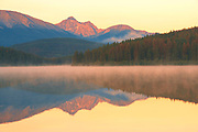 Patricia Lake and the Trident Range of the Canadian Rocky Mountains at sunrise<br />Jasper National PArk<br />Alberta<br />Canada