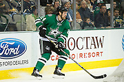 DALLAS, TX - NOVEMBER 1:  Jordie Benn #24 of the Dallas Stars controls the puck against the Colorado Avalanche on November 1, 2013 at the American Airlines Center in Dallas, Texas.  (Photo by Cooper Neill/Getty Images) *** Local Caption *** Jordie Benn