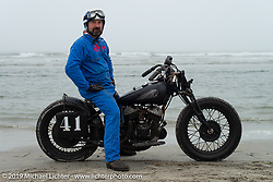 Fred Fosse of France with 1941 Indian Scout racer (which was originally shipped to France during WW2 and just made its return journey to the USA) at TROG (The Race Of Gentlemen). Wildwood, NJ. USA. Saturday June 9, 2018. Photography ©2018 Michael Lichter.