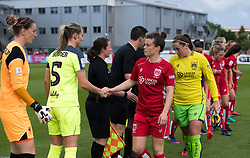 Hayley Ladd of Bristol City Women shakes hand with Gemma Bonner of Liverpool Ladies - Mandatory by-line: Paul Knight/JMP - 20/05/2017 - FOOTBALL - Stoke Gifford Stadium - Bristol, England - Bristol City Women v Liverpool Ladies - FA Women's Super League Spring Series
