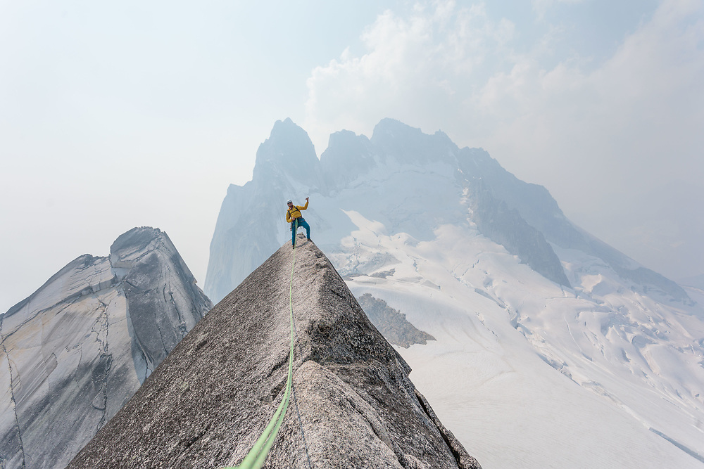 Guillaume Paquette rocking out on the West Ridge Pigeon Spire