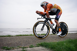 Ellen van Dijk (Boels Dolmans) time trials along the coast line to second place at Omloop van Borsele Time Trial 2016. A 19.9 km individual time trial starting and finishing in 's-Heerenhoek, Netherlands on 22nd April 2016.