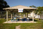 18 SEPTEMBER 2020 - FT. DODGE, IOWA: The voter registration table in H.C. Meriwether Park in Ft. Dodge on National Black Voter Day in Ft. Dodge, about 100 miles north of Des Moines.       PHOTO BY JACK KURTZ