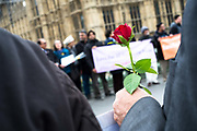 """Thousands of people, from police officers to faith leaders and members of the public, have linked hands on Westminster Bridge a week after the terror attack in the capital. Officers who attended the scene of the attack were urged to pay their respects, as well as victims and witnesses. Hundreds of members of the Ahmadiyya Muslim Youth Association were on the bridge, wearing T-shirts with the message """"I am a Muslim, ask me anything"""". Those gathered on the bridge fell silent at 2.40pm - the time the first call was made to police exactly seven days ago."""