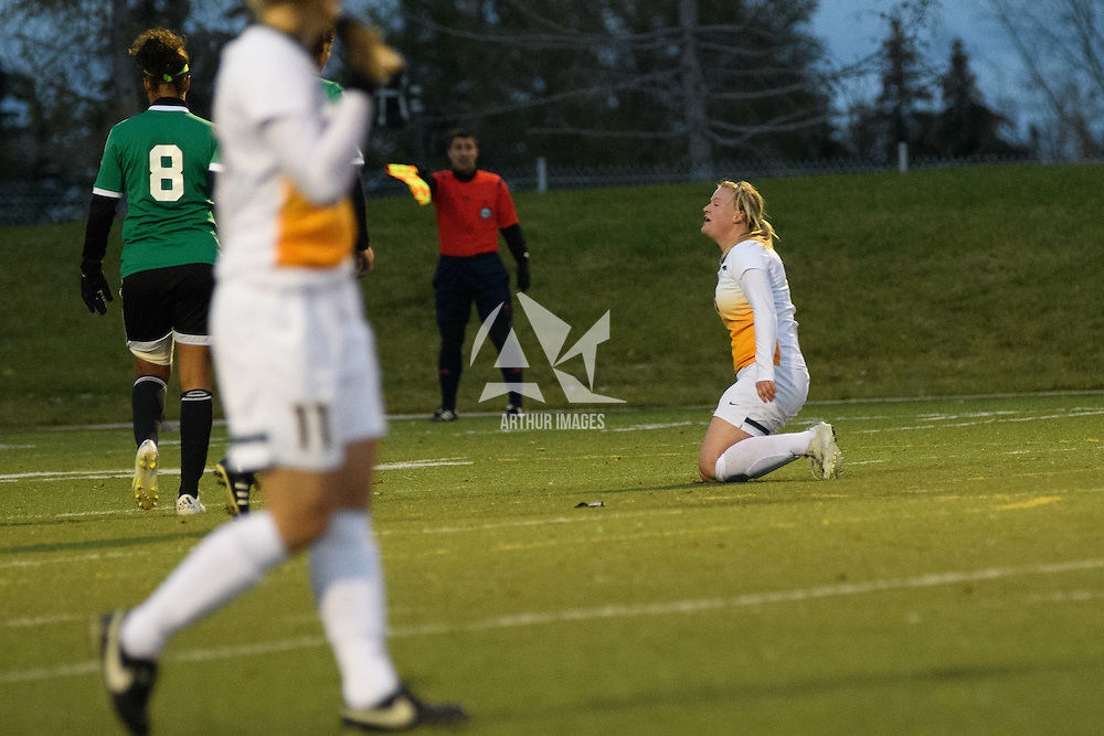 5th year defender Kayla McDonald (3) of the Regina Cougars in action during the Women's Soccer home game on October 7 at U of R Field. Credit: Arthur Ward/Arthur Images