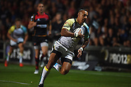 Eli Walker of the Ospreys © dives over to score his 1st half try. .Guinness Pro12 rugby union, Newport Gwent Dragons v Ospreys at Rodney Parade in Newport, South Wales on Friday 12th Sept 2014<br /> pic by Andrew Orchard, Andrew Orchard sports photography.