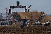 Ben Watson leads a pack early in the MX2 qualifier.