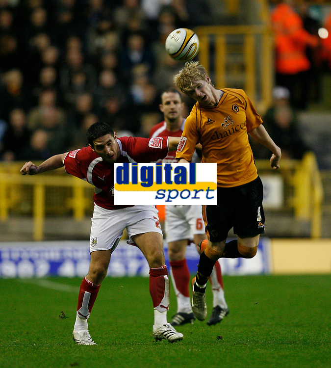 Photo: Steve Bond/Sportsbeat Images.<br /> Wolverhampton Wanderers v Bristol City. Coca Cola Championship. 03/11/2007. Andy Keogh (R) gets to the ball before Bradley Orr (L)