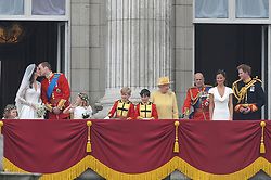 Buckingham Palace has announced Prince Philip, The Duke of Edinburgh, has passed away age 99 - FILE - Prince William and his bride Princess Catherine appear at the balcony of Buckingham Palace along with Queen Elizabeth, Prince Philip, Prince Harry, Pippa Middleton and James Middleton after their wedding ceremony in London, UK on April 29, 2011. Photo by Mousse/ABACAPRESS.COM