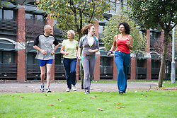 Group of adults jogging in the park,
