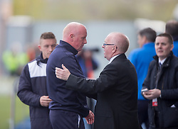 Falkirk's manager Peter Houston at the end. <br /> Falkirk 1 v 0 Morton, Scottish Championship game  played 1/5/2016 at The Falkirk Stadium.