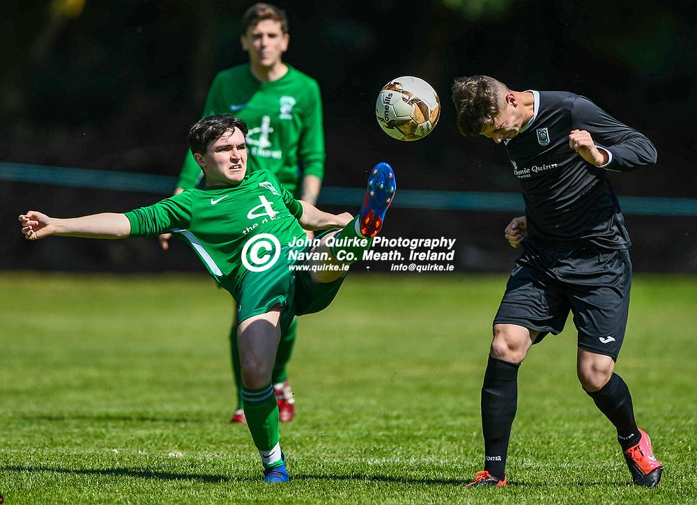Ryan Jones (Duleek and Oisin Smyth (Trim Celtic) in action,  during the Trim Celtic v Duleek, NEFL (Premier) match in Tully Park, Trim.<br /> <br /> Photo: GERRY SHANAHAN-WWW.QUIRKE.IE<br /> <br /> 18-07-2021