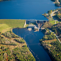 The Moore Dam and Moore Reservoir on the Connecticut River in Littleton, New Hampshire.