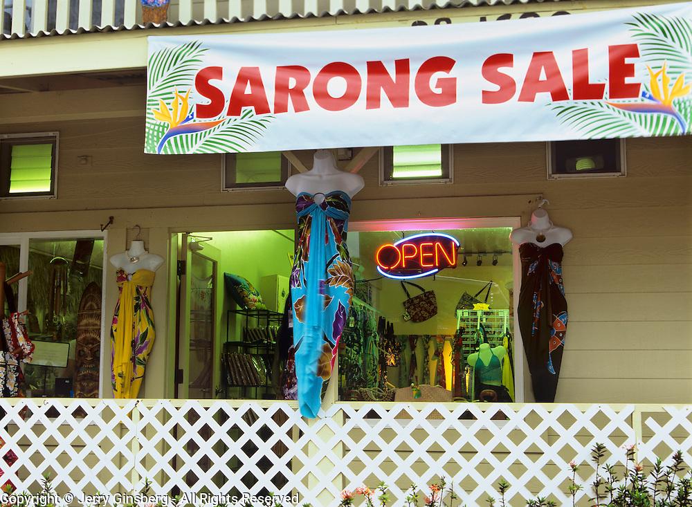 Colorful sarongs in quaint Honomu on Hawaii, the Big Island, in Hawaii.