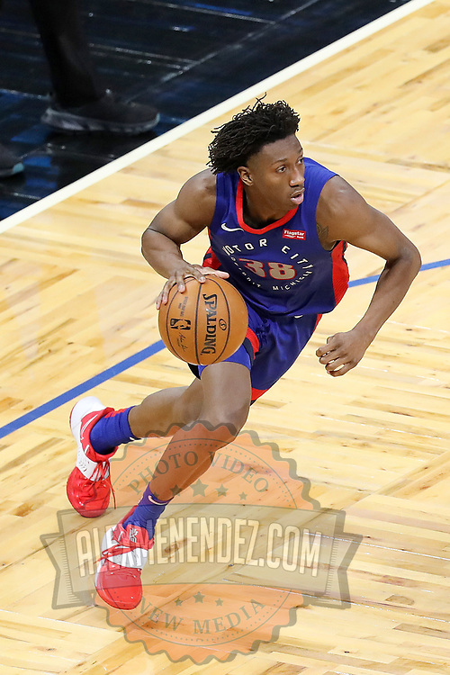 ORLANDO, FL - FEBRUARY 23:  Saben Lee #38 of the Detroit Pistons controls the ball against the Orlando Magic at Amway Center on February 23, 2021 in Orlando, Florida. NOTE TO USER: User expressly acknowledges and agrees that, by downloading and or using this photograph, User is consenting to the terms and conditions of the Getty Images License Agreement. (Photo by Alex Menendez/Getty Images)*** Local Caption *** Saben Lee