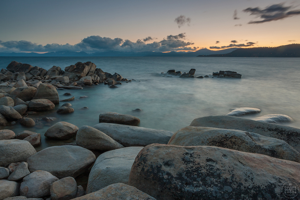 """""""Tahoe Boulders at Sunset 5"""" - These boulders were photographed at sunset near Hidden Beach, Lake Tahoe."""