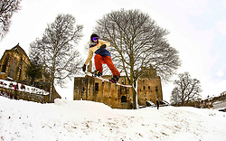 Pictured: Snowboarders today (1.3.18) at Linlithgow Palace, Linlithgow. Snowboarders take advantage of the Storm Emma beast from the east snowfalls to put in some tricks in front of Historic Linlithgow Palace.  Andrew West/ EEm
