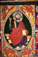 Romanesque thirteenth century painted altar front of Saint Roma de Vila, Encamp, Andorra, showing Christ Paontocrator in a Mandorla flanked by Tetramorph showing the four evangelical symbols - St Matthew the man, St Mark the lion, St Luke the ox, and John the eagle.  National Art Museum of Catalonia, Barcelona 1922. Ref: MNAC 1587. .<br /> <br /> If you prefer you can also buy from our ALAMY PHOTO LIBRARY  Collection visit : https://www.alamy.com/portfolio/paul-williams-funkystock/romanesque-art-antiquities.html<br /> Type -     MNAC     - into the LOWER SEARCH WITHIN GALLERY box. Refine search by adding background colour, place, subject etc<br /> <br /> Visit our ROMANESQUE ART PHOTO COLLECTION for more   photos  to download or buy as prints https://funkystock.photoshelter.com/gallery-collection/Medieval-Romanesque-Art-Antiquities-Historic-Sites-Pictures-Images-of/C0000uYGQT94tY_Y