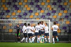Team of France celebrating their first goal during friendly Football match between U21 national teams of Slovenia and France, on September 8, 2019 in Ljudski Vrt, Maribor, Slovenia. Photo by Blaž Weindorfer / Sportida