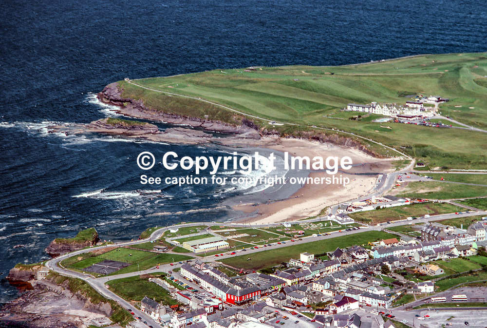 Aerial photograph, Bundoran, Co Donegal, Rep of Ireland. The Great Northern Hotel in its own grounds is top right of photograph. 19790164b.<br /> <br /> Copyright Image from Victor Patterson, Belfast, UK<br /> <br /> t: +44 28 9066 1296 (from Rep of Ireland 048 9066 1296)<br /> m: +44 7802 353836<br /> e: victorpattersonbelfast@gmail.com<br /> <br /> www.images4media.com<br /> <br /> Please see my full Terms and Conditions of Use at https://www.images4media.com/p/terms-conditions - it is IMPORTANT that you familiarise yourself with them.<br /> <br /> Images used online incur an additional cost. This cost should be agreed in writing in advance. Online images must be visibly watermarked i.e. © Victor Patterson or that of the named photographer within the body of the image. The original metadata must not be deleted from images used online.<br /> <br /> This image is only available for the use of the download recipient i.e. television station, newspaper, magazine, book publisher, etc, and must not be passed on to a third party. It is also downloaded on condition that each and every usage is notified within 7 days to victorpattersonbelfast@gmail.com.<br /> <br /> The right of Victor Patterson (or the named photographer) to be identified as the author is asserted in accordance with The Copyright Designs And Patents Act (1988). All moral rights are asserted.
