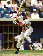 CHICAGO - UNDATED: Kirby Puckett of the Minnesota Twins bats during an MLB game at Comiskey Park in Chicago, Illinois. Kirby Puckett played for the Minnesota Twins from 1984-1995. (Photo by Ron Vesely) Subject:   Kirby Puckett
