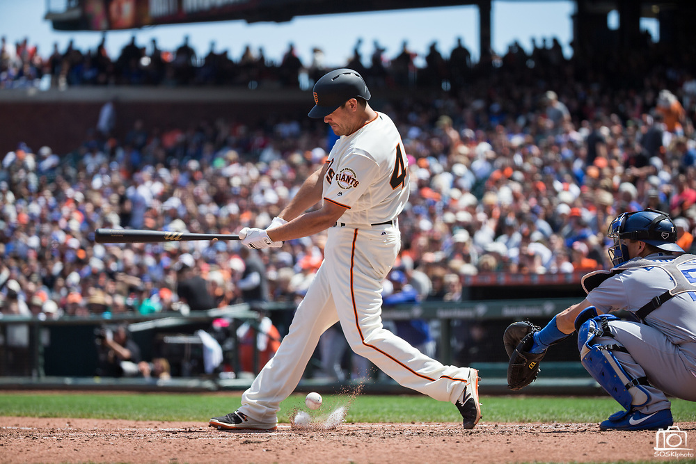 San Francisco Giants starting pitcher Matt Moore (45) bats against the Los Angeles Dodgers at AT&T Park in San Francisco, California, on April 27, 2017. (Stan Olszewski/Special to S.F. Examiner)