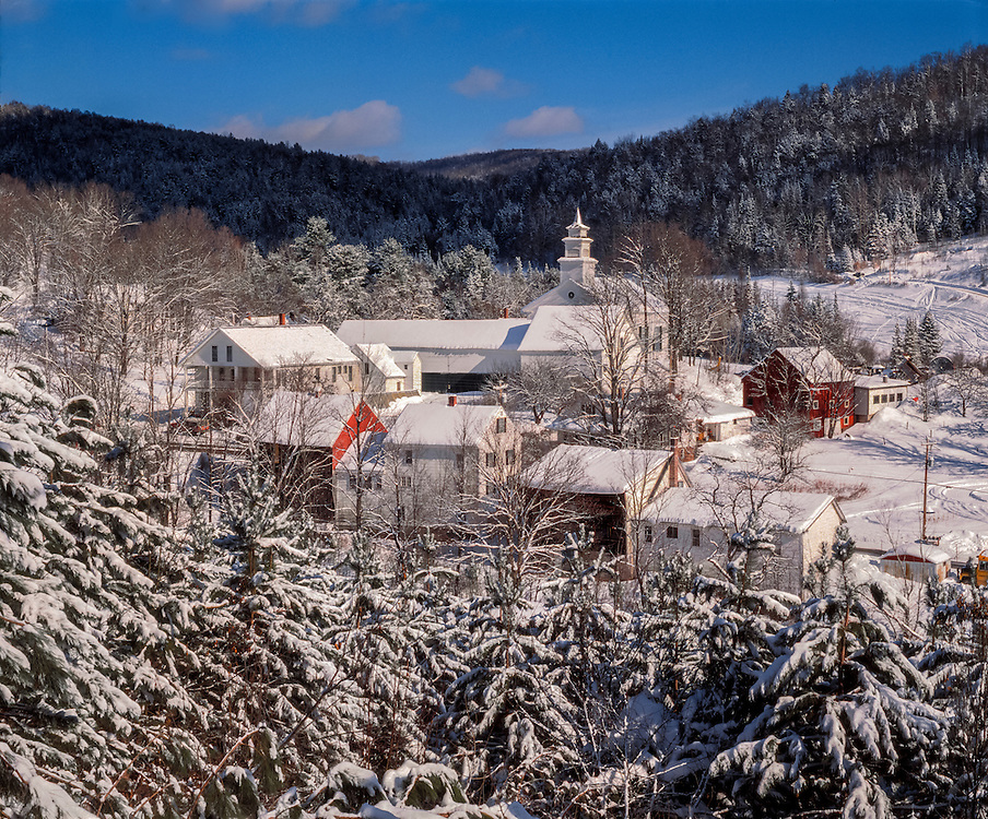 Village and snow covered trees after frest snow, East Topsham, VT