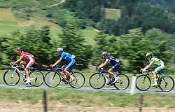 10.07.2015, Leogang, AUT, Österreich Radrundfahrt, 6. Etappe, Lienz auf das Kitzbühler Horn, im Bild v.l.: Rudy Molard (FRA, Cofidis, Solution Credits), Felix Großschartner (AUT, Team Felbermayr Simplon), Patrick Schelling (SUI, IAM Cycling), Jesper Hansen (DEN, Tinkoff-Saxo) // f.l.: Rudy Molard of France Felix Großschartner of Austria Patrick Schelling of Switzerland and Jesper Hansen of Denmark during the Tour of Austria, 6th Stage, from Lienz to the Kitzbühler Horn, Leogang, Austria on 2015/07/10. EXPA Pictures © 2015, PhotoCredit: EXPA/ JFK