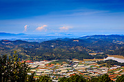 Overlooking grow houses in Dalat Vietnam from a high view.