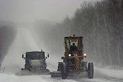 Khabarovsk, Russia, 29/02/2004.&#xD;Cleaning the road on the  Khabarovsk to Vladivostok highway in a snow blizzard.<br />
