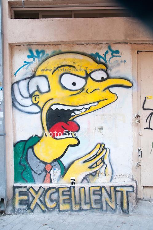 Mr. Burns of The Simpson's Graffiti wall art in Florentin neighbourhood, Tel Aviv