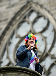 Pictured: Lothians MSP Kezia Dugdale rallied the crowd while wearing a rainbow flower head dress.<br /> <br /> Thousands of marchers rallied outside the Scottish Parliament to celebrate the annual Scotia Pride event in Edinburgh.<br /> <br /> © Dave Johnston / EEm
