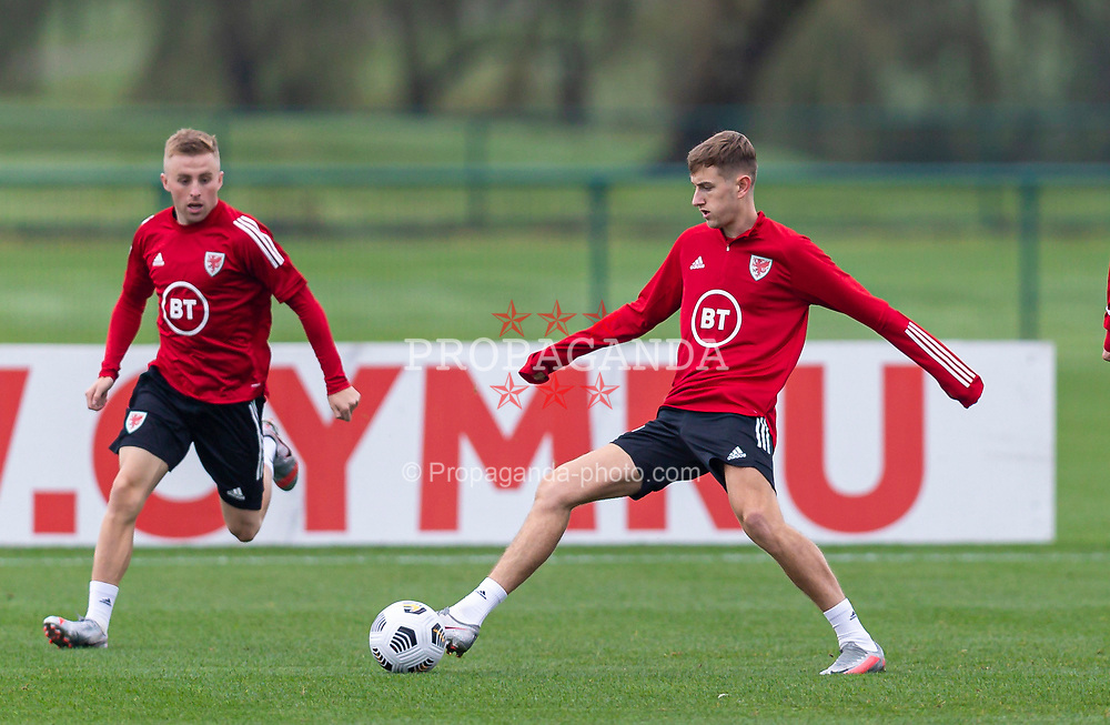 CARDIFF, WALES - Monday, October 5, 2020: Wales' David Brooks (R) and Joseff Morrell (L) during a training session at the Vale Resort ahead of the International Friendly match against England. (Pic by David Rawcliffe/Propaganda)