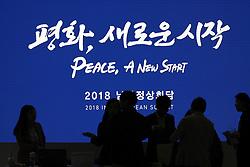 April 25, 2018 - Goyang, GYEONGGI, SOUTH KOREA - South Korean government members prepare summit at Inter-Korean Summit Main Press Center at Kintex in Ilsan, Goyang, South Korea. Inter-Korean Summit held in Panmunjom Peace House on April 27, 2018. (Credit Image: © Ryu Seung-Il via ZUMA Wire)