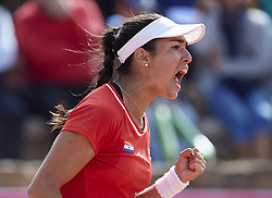 April 21, 2018 - La Manga, Murcia, Spain - Montserrat Gonzalez of Paraguay celebrates a point in her match against  Garbine Muguruza of Spain during day one of the Fedcup World Group II Play-offs match between Spain and Paraguay at Centro de Tenis La Manga Club on April 21, 2018 in La Manga, Spain  (Credit Image: © David Aliaga/NurPhoto via ZUMA Press)