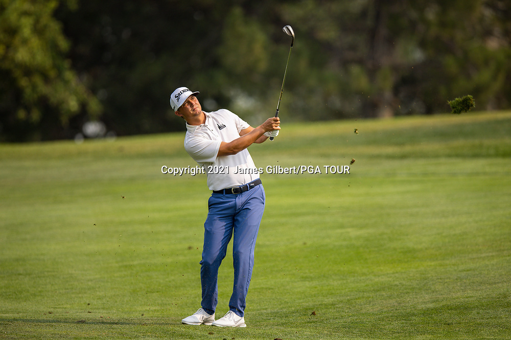 FARMINGTON, UT - AUGUST 08: Max McGreevy plays his shot from the 16th hole during the final round of the Utah Championship presented by Zions Bank at Oakridge Country Club on August 8, 2021 in Farmington, Utah. (Photo by James Gilbert/PGA TOUR via Getty Images)