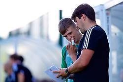 NEWPORT, WALES - Tuesday, July 24, 2018: South Regions Goalkeeper coach Jack Long with goalkeeper Lewis Ridd during the Welsh Football Trust Cymru Cup 2018 at Dragon Park. (Pic by Paul Greenwood/Propaganda)